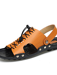 cheap -Unisex Sandals Comfort Spring Summer Cowhide Upstream Shoes Dress Outdoor Dark Blue Light Brown 1in-1 3/4in