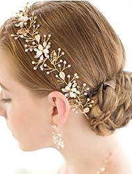 perlas de tiaras de la aleación del cristal de la perla head head headpiece elegante de la cadena