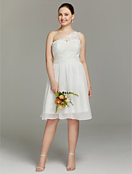 A-Line One Shoulder Knee Length Chiffon Lace Wedding Dress with Sashes/ Ribbons by LAN TING BRIDE®