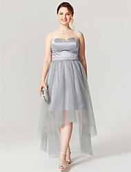cheap -A-Line Sweetheart Asymmetrical Satin Tulle Plus Size Cocktail Party Homecoming Dress with Pleats by TS Couture®