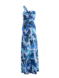 cheap -Women's Holiday Going out Beach Casual Sexy Swing Dress,Floral Print One Shoulder Maxi Sleeveless Milk Fiber Summer High Rise