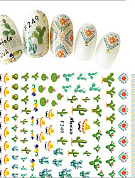 cheap -1pcs Summer Fresh Style DIY Decoration Nail Art 3D Stickers Green Plant Cactus Decoration For Lady Beauty F249