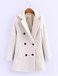cheap -Women's Sports Going out Simple Casual Spring Fall Coat,Solid Cowl Long Sleeve Regular Others Embroidered