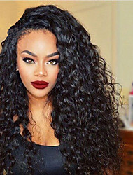 cheap -Synthetic Hair Wigs Curly Natural Hairline Heat Resistant Lace Front Lace Wig Long Black