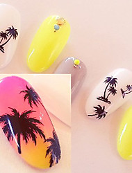 DIY Coconut Palm Tree Flowers Water Transfer Nail Art Sticker Decal Exquisite