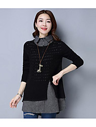 cheap -Women's Long Sleeve Cotton Pullover - Solid Colored Shirt Collar / Fall
