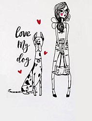 cheap -Dog & Beautiful Girl Cartoon Vinyl Wall Stickers Love Hearts Love My Dog Quote Wall Decals Home Decor For Kids Living Room Bedroom