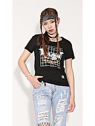 economico -T-shirt Da donna Per uscire Casual Athleisure Semplice Moda città Punk & Gotico Estate,Griglia / Patterns Plaid Personaggio RotondaCotone