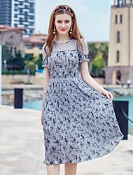cheap -YHSP Women's Daily Going out Casual Street chic Sophisticated A Line Sheath Chiffon Dress,Floral Flower Printing Round Neck Midi Short Sleeves