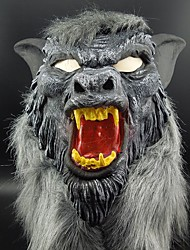 cheap -Hot Sale Latex Animal Wolf Head Mask With Hair Halloween Party Fancy Scary Dress Costume Horror Anonymous Face Masks