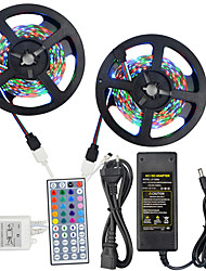 HKV® 10M(2*5M) NO-Waterproof 3528 300LED RGB Strip Light 44Key IR Remote Controller 5A Power Supply AC 100-240V