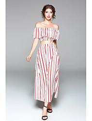 abordables -Mujer Camiseta - A Rayas, Volante Falda