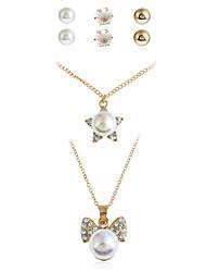 economico -Per donna Orecchini a bottone Collane con ciondolo Collana / orecchini Personalizzato Pendente Perle finte Di tendenza Ufficio / Business