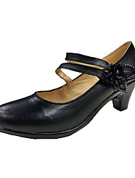 Women's Heels Formal Shoes Spring Fall Leatherette Dress Party & Evening Office & Career Buckle Flower Chunky Heel Black 1in-1 3/4in