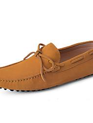 baratos -Homens Sapatos de couro Couro / Pele Primavera / Verão Sapatos de Barco Amarelo Terra / Azul / Vinho