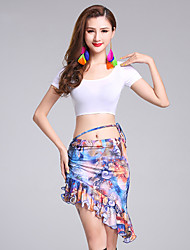 Belly Dance Outfits Women's Performance Modal Milk Fiber Pattern/Print 2 Pieces Short Sleeve Natural Top / Skirts