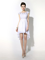 cheap -Sheath / Column Jewel Neck Asymmetrical Chiffon Cocktail Party Dress with Lace by Sarahbridal
