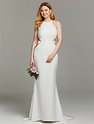Mermaid / Trumpet Jewel Neck Sweep / Brush Train Knit Wedding Dress with Sashes/ Ribbons by LAN TING BRIDE®