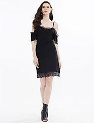cheap -Women's Lace Little Black Dress - Solid Colored Lace