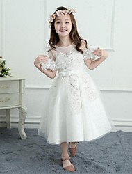 A-Line Tea Length Flower Girl Dress - Satin Net Sleeveless Jewel Neck with Bow(s) Ruffle by LAN TING BRIDE®