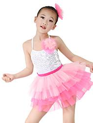 MiDee Kids' Dancewear Outfits Children's Performance Organza Lycra Sequins Sleeveless High