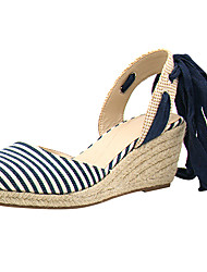 cheap -Women's Sandals D'Orsay & Two-Piece Light Soles Spring Summer Linen Casual Dress Outdoor Lace-up Wedge Heel Blue 1in-1 3/4in