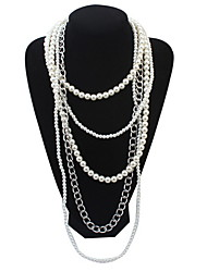 Layered Necklace Multiple Pearl  Long Necklace  Rock Euramerican Elegant  Party Casual Engagement Statement Gift  Jewelry
