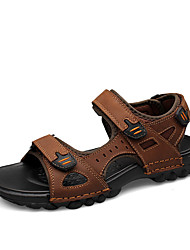 cheap -Unisex Shoes Nappa Leather Summer / Fall Comfort Sandals Water Shoes Black / Light Brown