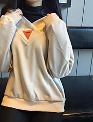 Sweatshirt Femme Quotidien Mode Couleur Pleine Couleur unie strenchy Polyester 100% coton Manches longues Printemps Automne