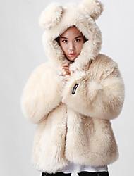 economico -Cappotto di pelliccia Da donna Casual Semplice Autunno Inverno,Tinta unita Con cappuccio Altro Standard Manica lunga