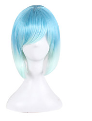 Blonde Europe and America Anime Fake  Light Blue Gradient Bobo Wig Short Hair 10inch