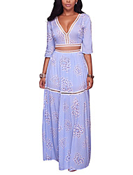 Women's Going out Party Club Sexy Vintage Boho Backless Cut Out Slim Bare Midriff T-shirt Skirt SuitsPrint Deep V Bow Micro-elastic