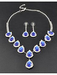 Femme Boucles d'oreille goutte Collier court /Ras-du-cou Nuptiales Parures Zircon cubique Saphir synthétique Luxe Elégant Mode Mariage