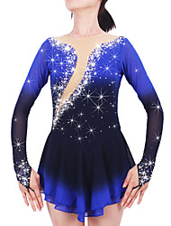 Figure Skating Dress Women's Girls' Ice Skating Dress Black Spandex Chinlon High Elasticity Jeweled Rhinestone Performance Keep Warm