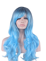 New Wig Cosplay Animated Wig Cool Gems Blue Gradient Long Curls 26inch