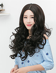 cheap -Cheap Women Synthetic Wigs Long Brown Grey Curly Straight Middle Part Bob Haircut With Bangs Natural Lolita Wig