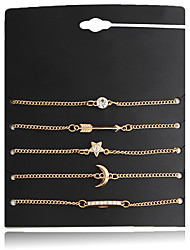 cheap -Women's Zircon Silver Plated Star Chain Bracelet - Friendship Fashion Moon Star Gold Bracelet For Christmas Gifts Wedding Party Special