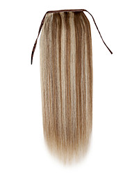 cheap -Clip In Human Hair Extensions Straight Ponytails Human Hair