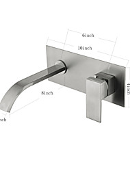 Wall Mounted Ceramic Valve Single Handle Two Holes for  Nickel Brushed , Bathroom Sink Faucet