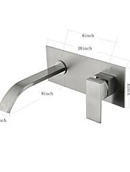 Недорогие -На стену Керамический клапан Одной ручкой Два отверстия Матовый никель , Ванная раковина кран