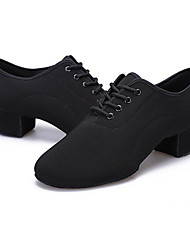 cheap -Men's Latin Shoes Canvas / Fabric Flat / Heel / Split Sole Customizable Dance Shoes Black / Practice