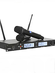 cheap -Professional UHF Wireless Microphone Metal Double Handheld Mic System For Vocals Speech Karaoke