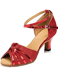 baratos -Mulheres Sapatos de Dança Latina Courino Sandália / Têni Presilha Salto Robusto Personalizável Sapatos de Dança Prata / Vermelho / Bronze