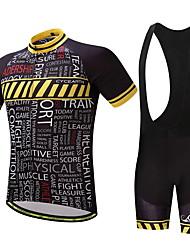 Maillot et Cuissard à Bretelles de Cyclisme Homme Vélo Ensemble de Vêtements Ventilation Séchage rapide Poche arrière Printemps/Automne