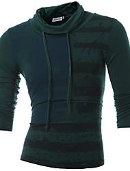 Tee-shirt Homme,Imprimé Sports Décontracté / Quotidien simple Bohème Printemps Automne Manches Longues Col Roulé Coton Moyen