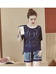 Women's Casual Simple Summer Blouse Pant Suits,Solid Round Neck Short Sleeve Micro-elastic
