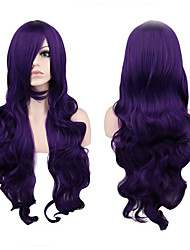 cheap -Dark Purple Wavy Cosplay Wigs 80CM Long Heat Resistant Curly Cosplay Full Hair Wig Party Costume Wig for Women