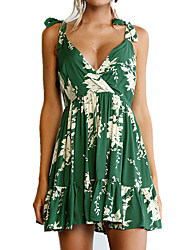 cheap -Women's Beach Vintage Boho Skater Dress - Floral, Ruched High Rise V Neck