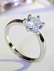 Women's Ring Classic Elegant Silver AAA Cubic Zirconia Flower Shape Ring Jewelry For Wedding Anniversary Party/Evening Engagement Daily