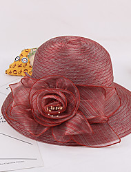 Women's Fashion Organza Handmade Flowers Light Gray / Gray / Pink / Fuchsia / Red /  Royal Blue  Beauty Sun Hat & Hats